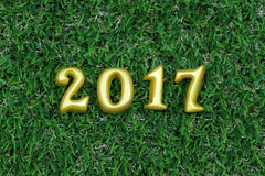 2017 real 3d objects on green grass, happy new year concept Royalty Free Stock Images