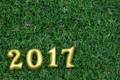 2017 real 3d objects on green grass, happy new year concept Stock Photography