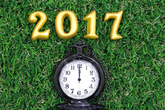2017 real 3d objects on green grass with luxury pocket watch, happy new year concept Stock Photography