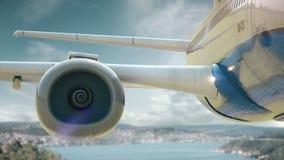 Airplane take off Istanbul Turkey stock video footage