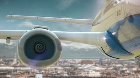 Airplane take off Munich Germany. Real 3d render of airplane take off from city. I have all cities stock video footage