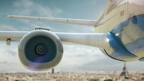 Airplane take off Paris Eiffel Tower