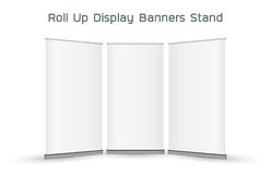 Real 3d roll up display banners stand. A real 3d roll up display banners stand Royalty Free Stock Photos