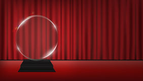 Real 3d transparent acrylic trophy with red curtain stage background Stock Image