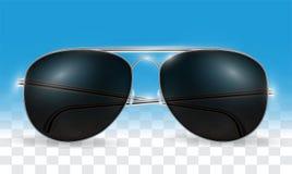 Real 3d transparent black sun glasses vector Royalty Free Stock Photos
