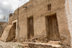 Real de Catorce, Mexico abandoned building. May 22, 2014 Real de Catorce, Mexico: narrow cobblestone streets and mostly abandoned stone buildings all through the Stock Images