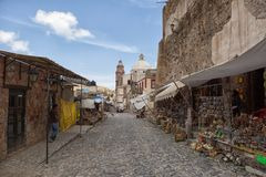 Real de Catorce Mexico. May 22, 2014 Real de Catorce, Mexico: few gift shops along the main street of the mostly abandoned silver mining town Royalty Free Stock Photo