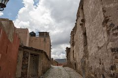Real de Catorce Mexico old silver town. May 22, 2014 Real de Catorce, Mexico: narrow cobblestone streets and mostly abandoned stone buildings all through the Stock Photo