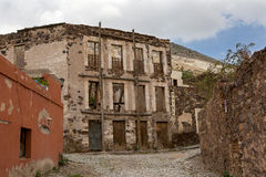 Real de Catorce streetscape with anbandoned hotel. Real de Catorce streetscape with abandoned hotel building Royalty Free Stock Photos