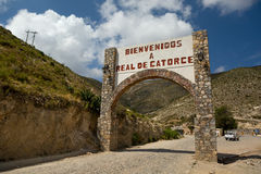 Real de Catorce welcome sign. Real de Catorce arched welcome sign in the state of San Luis de Potosi, Mexico, May 22, 2014. An abandoned  former silver mining Royalty Free Stock Image
