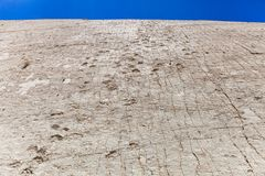 Real dinosaur footprint imprinted in the rock. Nacional Park in Sucre, Bolivia Stock Photography