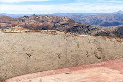 Real dinosaur footprint imprinted in the rock. Side view. Nacional Park in Sucre, Bolivia Royalty Free Stock Images