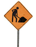 Real dirty construction road sign on white background Stock Photo