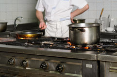 Real dirty restaurant kitchen Royalty Free Stock Photos
