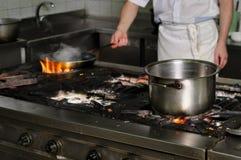 Real dirty restaurant kitchen Stock Photos