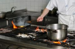 Real dirty restaurant kitchen Royalty Free Stock Photo
