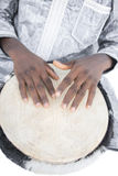 Real Djembe player, traditional garment, Senegal Stock Photography