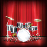 Real drum set on a show stage Royalty Free Stock Images