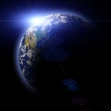 Real Earth Planet in blue sun Royalty Free Stock Photos