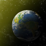 Real Earth Planet in blue sun Stock Photos