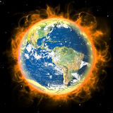 Real Earth Planet in space. Red fire sun. Real Earth Planet in space. Big red fire sun backgraund Stock Photos