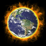 Real Earth Planet in yellow sun. Real Earth Planet. In deep space Stock Photos