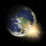 Real Earth Planet in yellow sun. Stock Photography