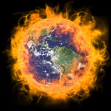 Real Earth Planet in yellow sun Royalty Free Stock Image