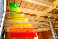 Real ecological house in construction with energy efficiency rating Stock Image