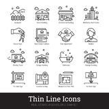 Real Eestate, Moving, Buying House Thin Line Icons stock illustration