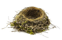 Real empty bird nest on white Stock Photo