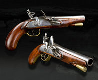 Real English Flintlock Pistol. Real English flintlock pistol made in the late 1700`s Stock Photography
