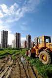 Real estate. Blue sky white cloud bottom just in the land residence of development Stock Photography