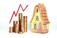 Real estate. Graph of growth in real estate prices Stock Photography