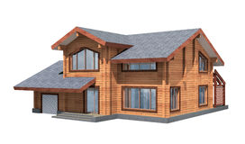 Real estate. Residential house of wooden timber. 3d model render. Isolation on white background. Real estate Royalty Free Stock Photography