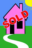 Real estate. Illustration with for sold sign on a house Stock Images