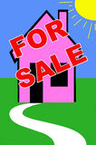 Real estate. Illustration with for sale sign on a house Royalty Free Stock Images