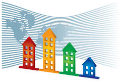 Real Estate. Graph of real Estate  - abstract illustration with map and houses Stock Photo