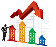 Real Estate. Graph of real Estate  - abstract illustration with arrow and houses Stock Image