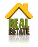 Real Estate. 3D sign for real estate with text Royalty Free Stock Photos