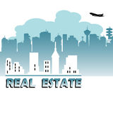 Real estate. Abstract colorful real estate design with various skyscrapers and white buildings under blue clouds Royalty Free Stock Images