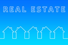 Real estate. Concept with outlines of white houses against a blue sky Royalty Free Stock Photos