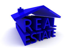 Real Estate. Shaped into a blue house set against a white background Royalty Free Stock Images