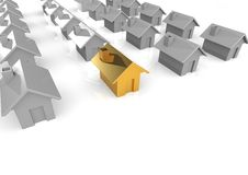 Real estate. A 3D rendered artwork with white background stock illustration