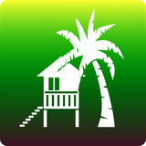 Real estate. Tropical house with palm tree stock illustration