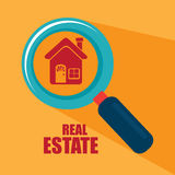 Real estate. Over yellow background vector illustration Stock Photos