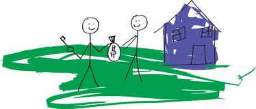 Real Estate. A child like drawing in format of a stick man selling a house to another. Would also work for renting concept vector illustration