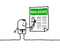 Real estate. Vector hand-drawn characters line Stock Image