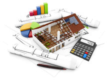 Real estate accounting. Concept: house structure with graphics and calculator over architectural draws Royalty Free Stock Image