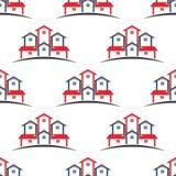Real Estate-achtergrond van het huizen de naadloze patroon Stock Afbeelding